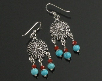 Boho Silver Hippie Earrings, Red Blue Unique Tibetan Jewelry, Nepal Style Earrings, Tibetan Earring Gift for Wife, Girlfriend, Mom