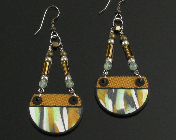Long Tribal Earrings, Unique Rustic Statement Earrings, Lightweight Tribal Jewelry, Handmade Semi-Circle Earrings Mother's Day Gift for Wife