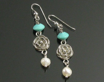 Flower Earrings, Everyday Silver Earrings, Aqua, Pearl & Silver Jewelry, Unique Flower Earrings Valentine Gift for Friend, Mom Birthday Gift