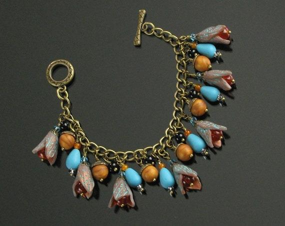 Unique Boho Bracelet, Fall Charm Bracelet, Cha Cha Bracelet, Rustic Clay Bracelet, Colorful Bracelet, Brass Art Jewelry, Unique Gift, Women