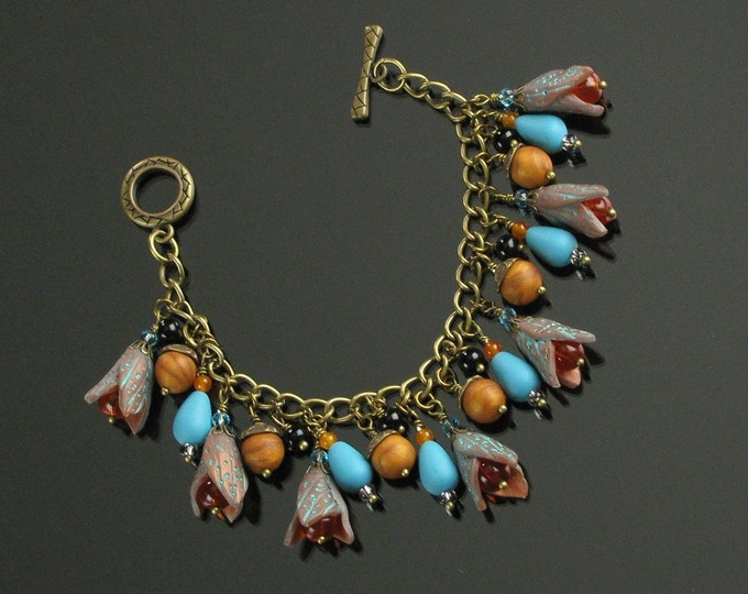 Unique Boho Bracelet, Fall Charm Bracelet, Cha Cha Bracelet, Rustic Clay Bracelet, Colorful Bracelet, Brass Art Jewelry, Unique Gift, Women