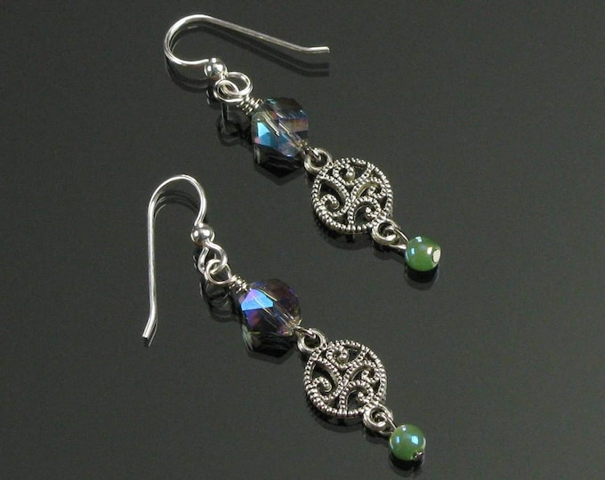 Silver Filigree Earrings, Crystal Silver Earrings, Lightweight Everyday Earrings, Unique Jewelry Gift, Valentines Gift for Girlfriend, Wife
