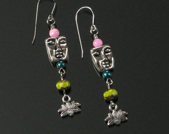 Meditation Face Earrings, Unique Lotus Yoga Jewelry, Serene Face Spiritual Om Earrings, Gift for Buddhist, Women, Friend, Mom