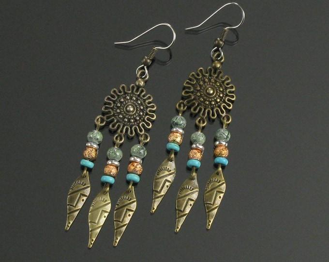 Long Brass Tribal Earrings, Gypsy Hippie Festival Long Earrings, Boho Jewelry Gift for Women, Sister, Mother's Day Gift for Girlfriend