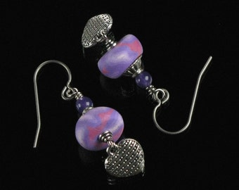 Silver Heart Earrings, Pink Purple Polymer Clay Jewelry, Romantic Dangle Earrings, Unique Heart Jewelry Birthday Gift for Mom, Girlfriend