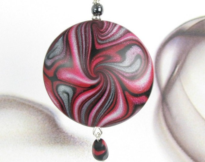 Modern Art Necklace, Abstract Red Black Pendant, Unique Polymer Clay Jewelry, Birthday Gift Jewelry, Gift for Women