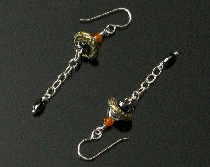 Modern Silver & Brass Earrings, Unique Beaded Minimalist Earrings, Unusual Sterling Silver Chain Earrings, Unique Gift for Hipster Women