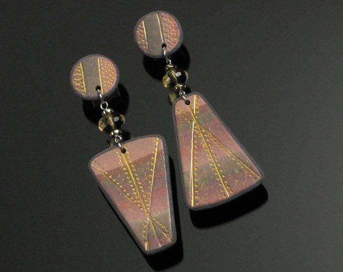Large Statement Earrings, Asymmetric Long Maximalist Mismatched Post Earrings, Modern Art Jewelry, Unique Handmade Gift for Women, Friend
