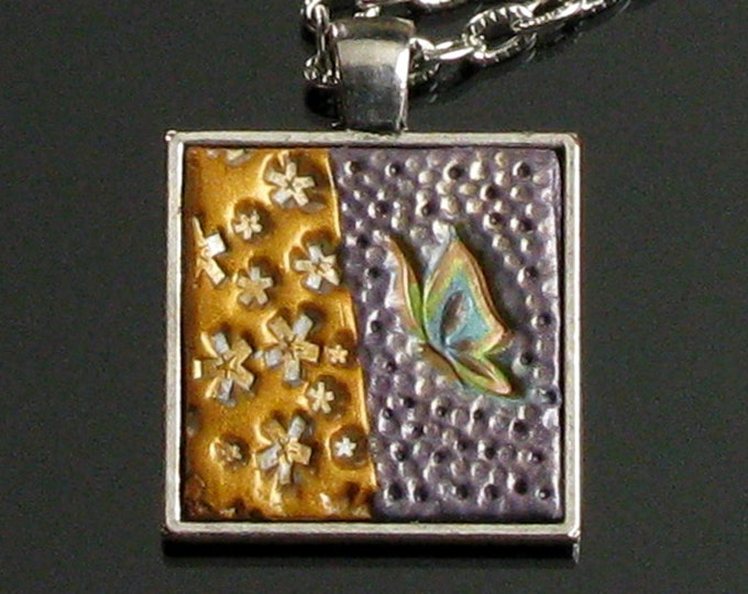 Butterfly Necklace, Polymer Clay Jewelry, Unique Art Jewelry, Nature Jewelry, Silver Necklace, Gift for Mom, Butterfly Jewelry Unique Gift