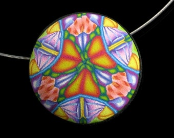 Colorful Mandala Pendant, Unique Polymer Clay Circle Necklace Wearable Art Jewelry, Womens Gift Jewelry, Gift for Girlfriend
