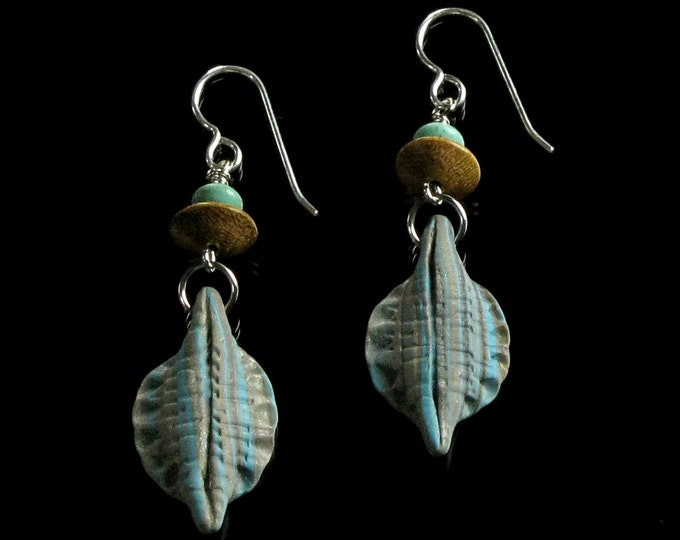 Unique Rustic Drop Earrings, Long Tribal Dangle Earrings, Turquoise & Tan Polymer Clay Earrings, Earthy Art Jewelry, Unique Gift for Her