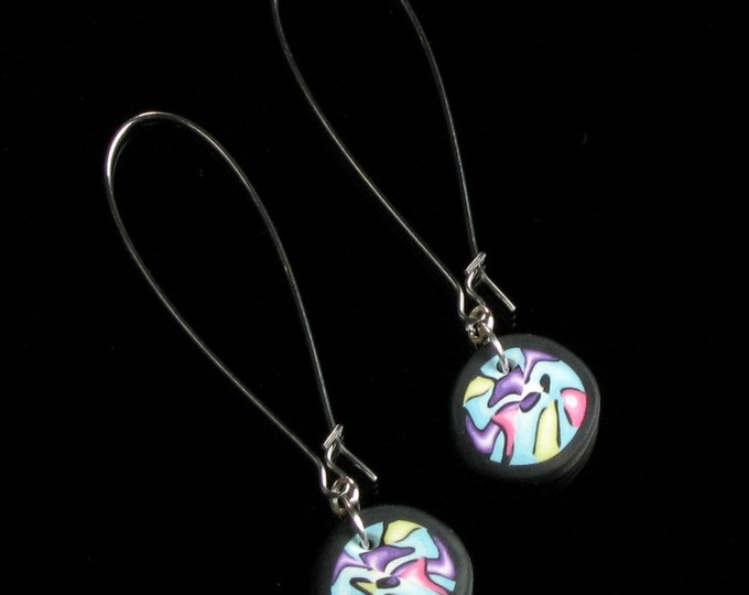Modern Art Silver Earrings, Unique Long, Colorful & Lightweight Mod Earrings, Contemporary Jewelry, Birthday Gift for Women
