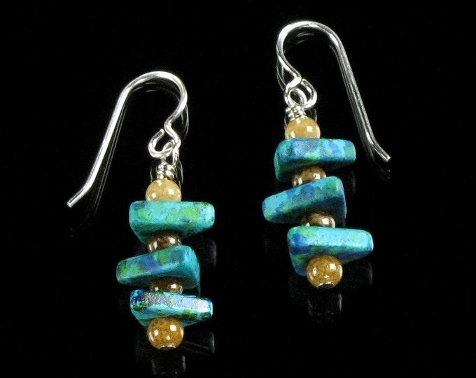 Ceramic Triangle Dangle Earrings, Drop Earring, Unique Earrings,  Modern Earrings, Contemporary Jewelry, Earthy Jewelry, Gift for Girlfriend