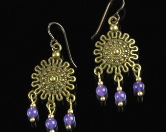 Boho Brass Gypsy Earrings, Bohemian Amethyst Chandelier Earrings, Niobium Hippie Earrings, Unique Jewelry Birthday Gift for Women