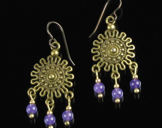 Boho Brass Gypsy Earrings, Bohemian Amethyst Chandelier Earrings, Niobium Hippie Earrings, Unique Jewelry Gift for Women