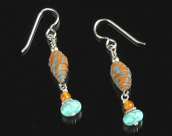 Unique Boho Dangle Earrings, Silver Earrings, Turquoise & Orange Polymer Clay Earrings, Rustic Earrings, Unique Womens Gift, Girlfriend Gift