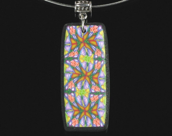 Multicolored Rectangle Pendant, Colorful Clay Art Jewelry, Wearable Art, Kaleidoscope Necklace, Hippie Gift, Unique Valentine Gift for Women