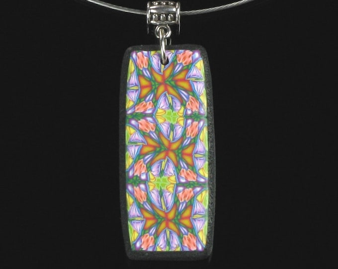 Multicolored Rectangle Pendant, Colorful Clay Art Jewelry, Wearable Art, Kaleidoscope Necklace, Hippie Gift, Unique Birthday Gift for Women