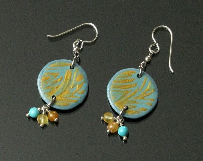 Aqua & Gold Mokume Gane Earrings, Unique Boho Dangle, Boho Earrings, Polymer Clay Earrings, Boho Jewelry Shop, Unique Gift for Women, Mom
