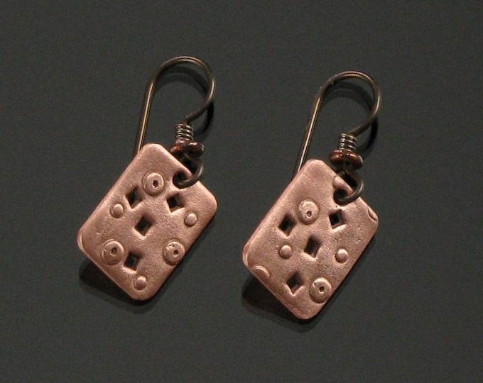 Copper Metal Earrings, Rustic Copper Earrings, Unique Metal Jewelry Dangle Earrings, Modern Earrings Gift for Women