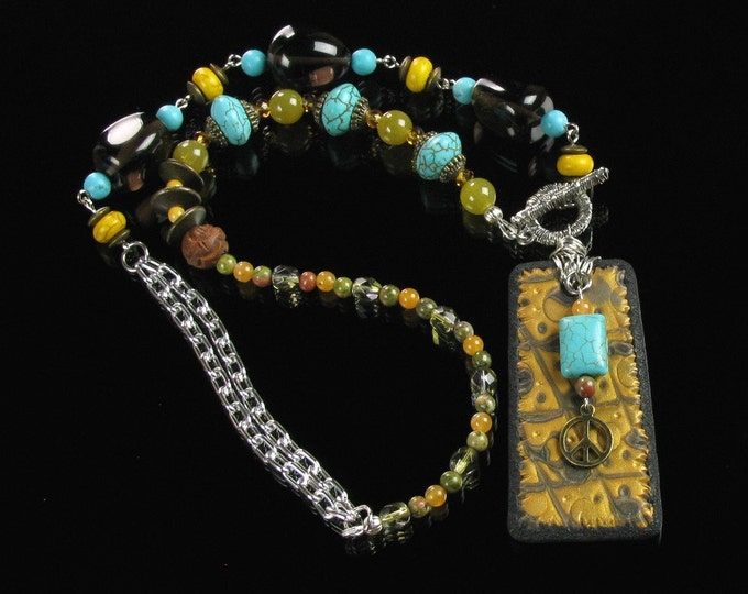 Boho Statement Necklace, Unique Turquoise, Black & Gold Front Close Necklace, Handmade Art Jewelry Gift for Girlfriend, Women