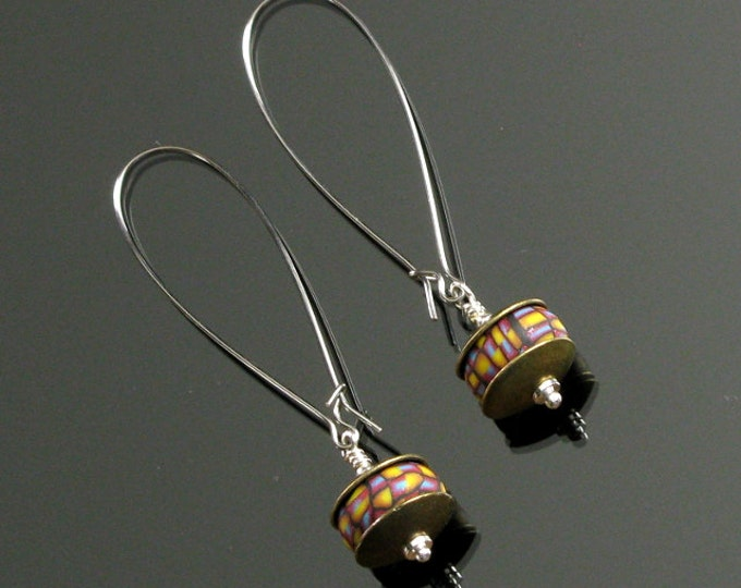 Colorful Long Silver Dangle Earrings, Colorful Earrings, Silver Jewelry, Unique Long Earrings, Art Jewelry Shop, Unique Gift for Her, Women