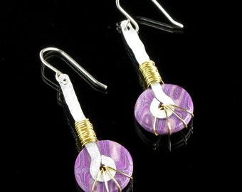 Unique Handmade Earrings, Polymer Clay Tribal Drop Earrings, Purple Art Jewelry, Unique Gift for Women