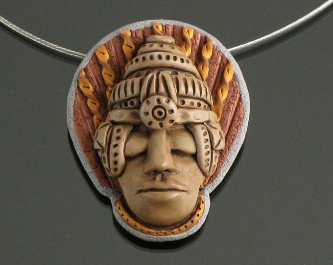 Tribal Talisman Necklace, Art Jewelry Face Pendant, Tribal Jewelry, Coat Lapel Brooch, Art Pin, Unique Gift, Women, Men, Spiritual Jewelry