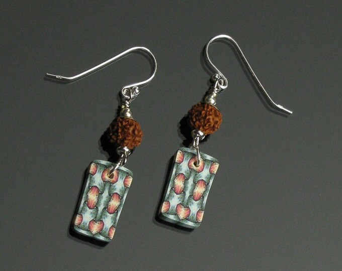 Wearable Art Colorful Earrings, Rudraksha Bead Art Jewelry Shop, One of a Kind, Unique Boho Gift for Buddhist