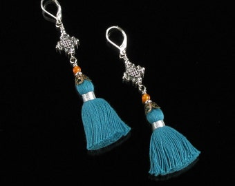 Long Blue Tassel Earrings, Leverback Boho Gypsy Dangle Earrings, Boho Silver Festival Earrings, Unique Boho Gift for Her, Women