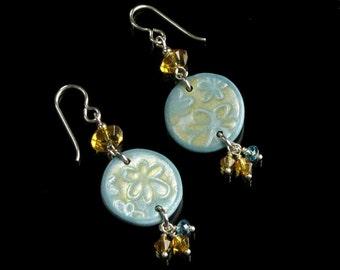 One of a Kind Flower Earrings, Boho Blue Gold Silver Dangle Earrings, Birthday Gift Earrings, Handmade Jewelry Shop, Unique Gift for Women