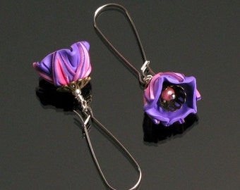 Art Deco Flower Earrings, Pink & Purple Long Silver Earrings, Floral Dangle Earring Handmade, Unique Birthday Gift, Best Gift for Women, Mom