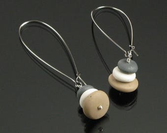 Zen Pebble Earrings, Cairn Earrings, Rock Earrings, Long Earrings, Lightweight Minimalist Earrings, Silver Nature Jewelry, Buddhist Jewelry