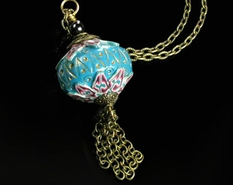 Unique Clay Bead & Brass Chain Tassel Statement Necklace, Handmade Aqua Clay Pendant Jewelry Gift for Women