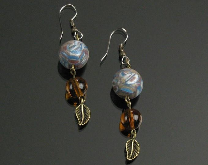 Rustic Brass Leaf Earrings, Unique Boho Earrings, Nature Earrings, Earthy Boho Amber Blue Bead Autumn Earrings, Valentine Gift for Woman
