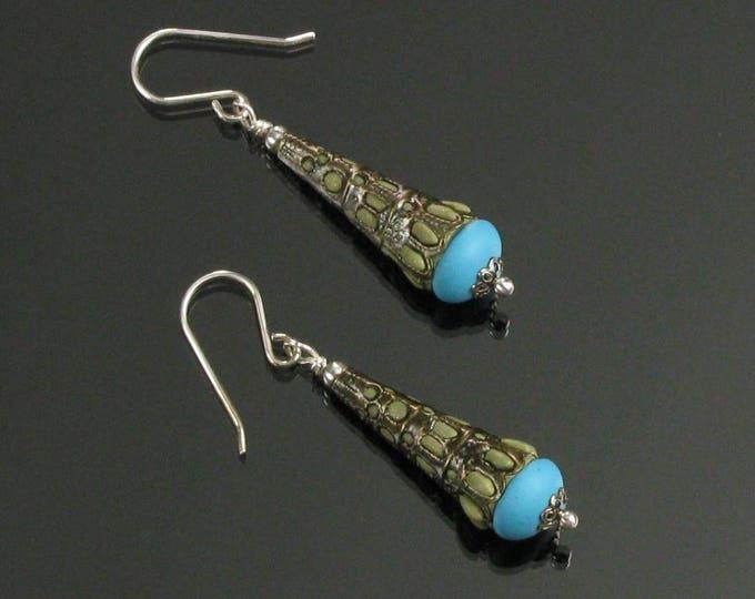 Filigree Earrings, Brass Jewelry, Unique Cone Earrings, Valentine Jewelry Gift Boho Earrings, Bohemian Earrings Gift for Women, Mom