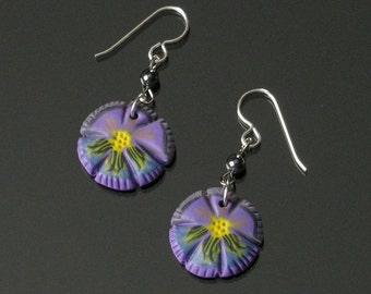 Purple Pansy Earrings, Whimsical Flower Dangle Earrings, Lightweight Silver Earrings, Gift for Women, Unique Jewelry Gift for Her, Mom, Wife