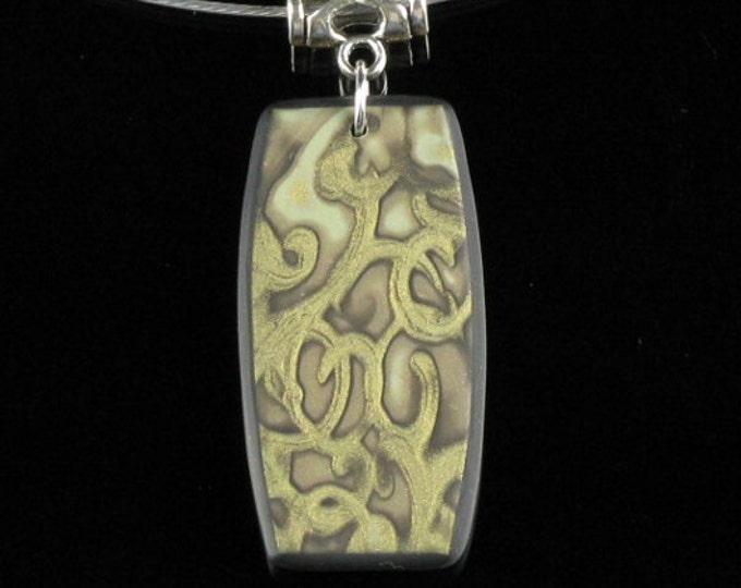 Mokume Gane Pendant Necklace, Unique Handmade Gold Polymer Clay Art Jewelry Gift for Women