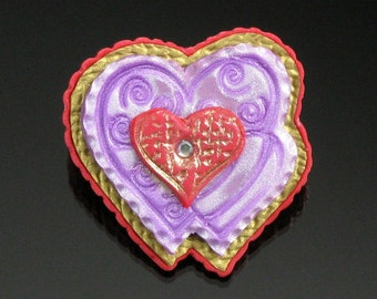 Valentine Heart Pin, Heart Art Jewelry, Valentine's Day Gift Brooch, Unique Polymer Clay Heart Valentines Gift for Women, Wife, Mom Gift