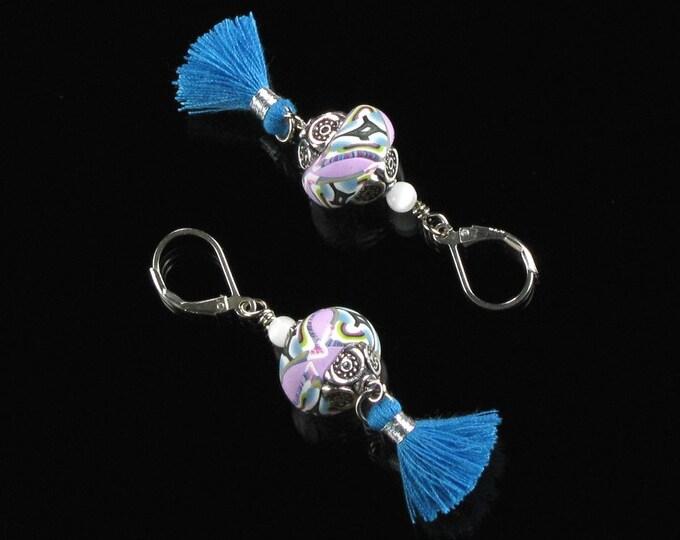 Boho Tassel Earrings, Unique Colorful Festival Earrings, Leverback, Silver Hippie Earrings Valentine Gift for Women