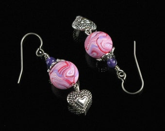 Silver Heart Earrings, Pink Clay Bead Silver Earrings, Handmade Mother's Day Gift Jewelry, Heart Jewelry, Unique Gift for Women, Mom