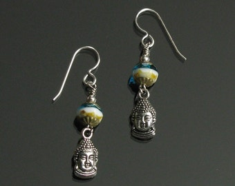 Silver Buddha Yoga Earrings, Dangle Silver Earrings, Yoga Jewelry, Spiritual Jewelry, Buddhist Earrings, Buddha Jewelry, Gift for Girlfriend