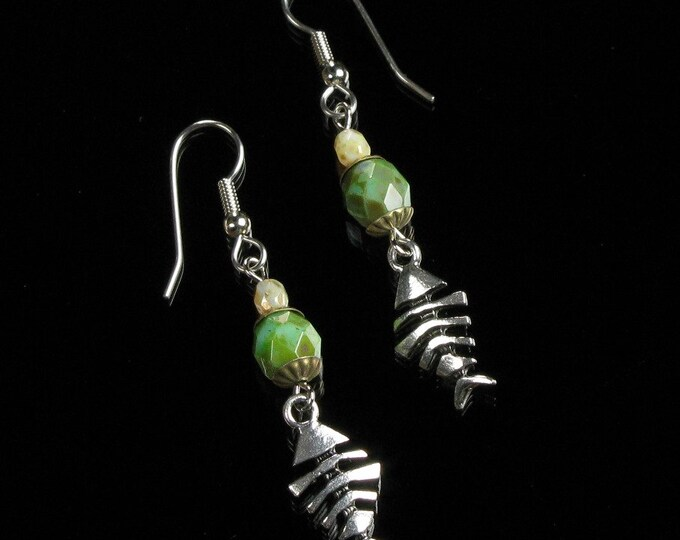 Fishbone Earrings, Tribal Earrings, Long Boho Tribal Drop Earrings, Rustic Silver Jewelry, Unique Tribal Jewelry Gift for Women, Girlfriend