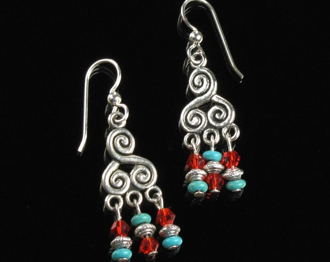 Tibetan Earrings, Silver Boho Earrings, Unique Nepal Jewelry, Red Turquoise Silver Earrings, Tibetan Jewelry Gift for Her