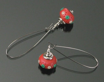 Modern Christmas Earrings, Christmas Jewelry, Polymer Clay Earrings, Holiday Earrings, Long Red Green Dangle Earring, Festive Earrings Gift