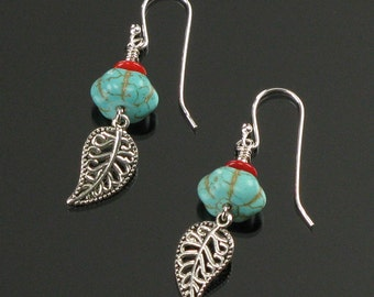 Turquoise & Silver Filigree Leaf Earrings, Unique Boho Dangle Earrings, Boho Turquoise Nature Jewelry, Unique Birthday Gift for Her
