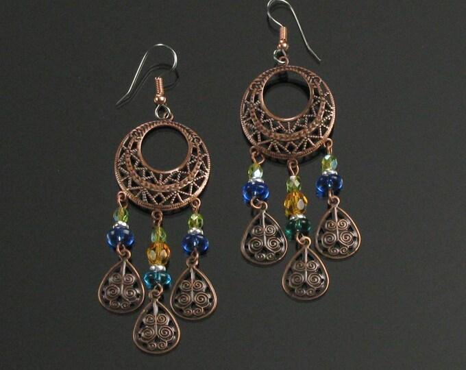 Large Boho Copper Earrings, Long Gypsy Hippie Festival Earrings, Bohemian Jewelry Gift for Women, Wife, Mother's Day Gift for Girlfriend