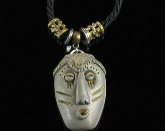 African Mask Talisman Pendant, Ethnic Tribal Mask Statement Necklace, Unique Unisex Necklace Gift