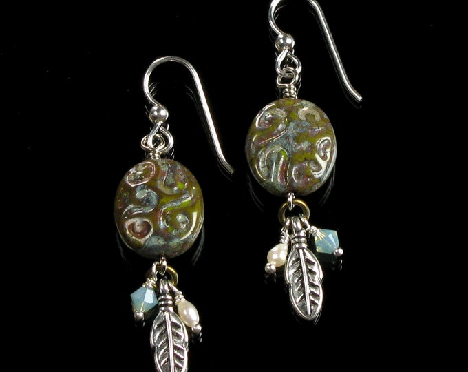 Unique Tribal Earrings with Silver Feather, Boho Dangle Earrings, Native American Jewelry Ethnic Earrings, Valentines Day Gift for Women