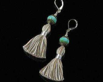 Boho Earrings, Silver Leverback Earrings, Boho Long Tassel Earthy Bohemian Earrings, Boho Jewelry Valentine Gift for Women, Tassel Jewelry